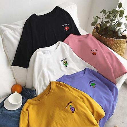 Áo thun tay lỡ nữ freesize - Áo phông form rộng dáng Unisex, mặc lớp, nhóm, cặp, couple thêu hình rau củ 6 màu