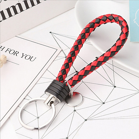 Huashi car key chain woven rope pure hand-woven leather rope key chain men and women couple car key ring pendant car supplies red black