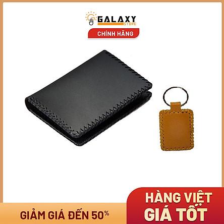 Ví Bóp Nhỏ Handmade Da Bò Thật Galaxy Store GVM03 (Đen) + Tặng Móc Khóa Da Handmade Galaxy Store