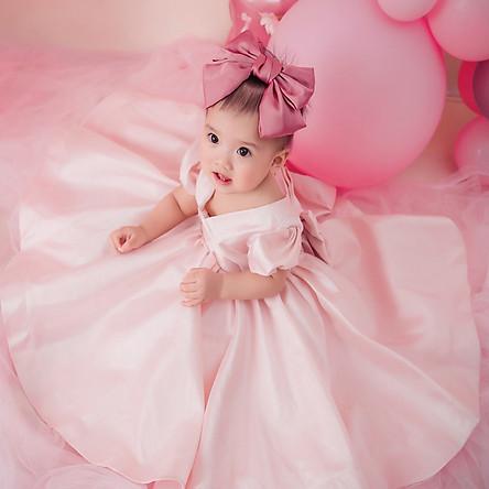 Váy công chúa cho bé gái jessica hồng cao cấp