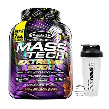 Combo Sữa tăng cân tăng cơ MASS TECH EXTREME 2000 của MuscleTech hương Chocolate hộp 3.2kg hỗ trợ tăng cân tăng cơ nhanh cho người gầy kén ăn, khó hấp thu, khó tăng cân & Bình lắc 600 ml (Màu Ngẫu Nhiên)