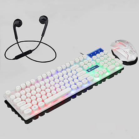 Combo Bộ Bàn Phím Giả Cơ Và Chuột Chuyên Game GTX300 Phím Tròn Led 7 Màu + Tặng Tai Nghe Bluetooth Nhét Tai 6s