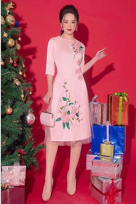 Áo dài cách tân lụa kết hoa kèm chân váy ren hàng cao cấp VK03
