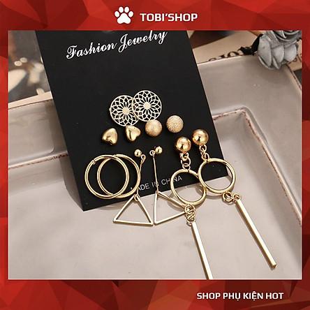 Khuyên tai nữ bộ bông tai set 12 hoa tai kiểu dáng Hàn Quốc TB72 - TOBI'SHOP