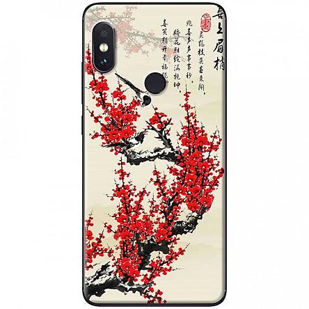 Ốp lưng dành cho Xiaomi Redmi Note 5 mẫu Hoa đào đỏ thư pháp