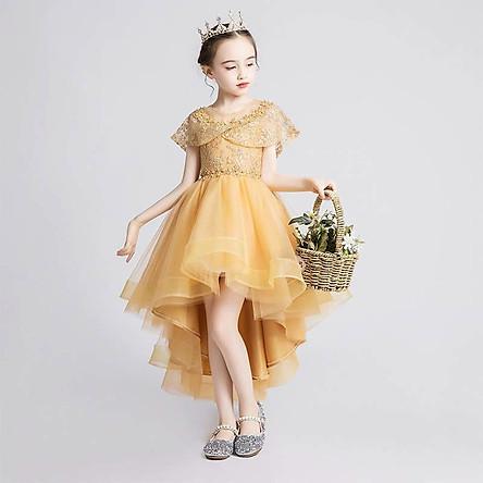 Váy công chúa bé gái vàng đuôi tôm DBG035