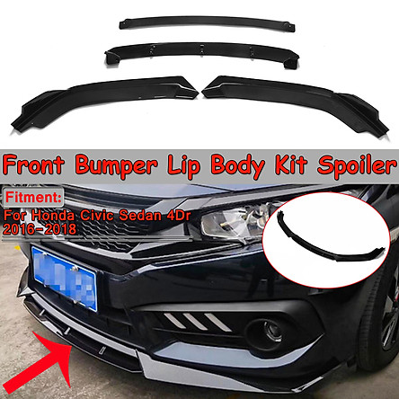 Glossy Black Front Bumper Lip Body Kit Spoiler Splitter For Honda Civic 2016-2018