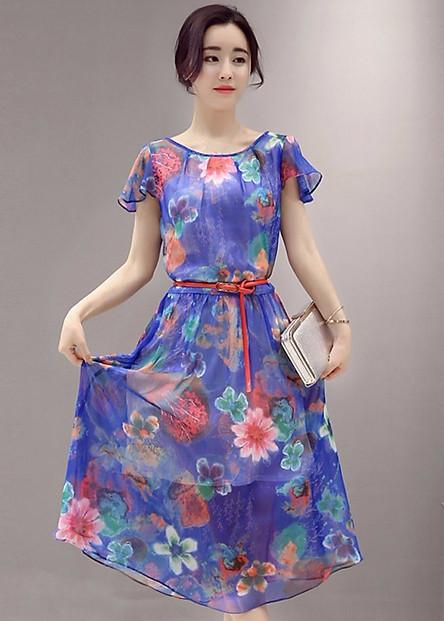 Đầm Nữ Maxi Kèm Belt Hoa 2016DMX00200