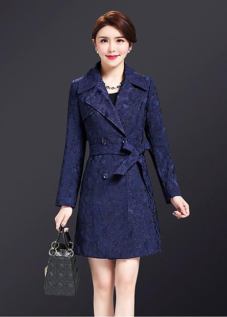 Áo khoác dáng dài kiểu áo khoác nữ phối gấm cổ bẻ phối nút kèm belt GOTI1520580