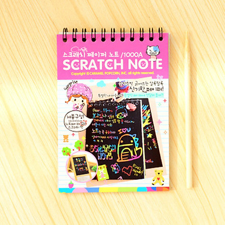 Cardboard Notebook Creative Kid DIY Drawing Scrawl Book School Supplies with Wooden Scratch Pen