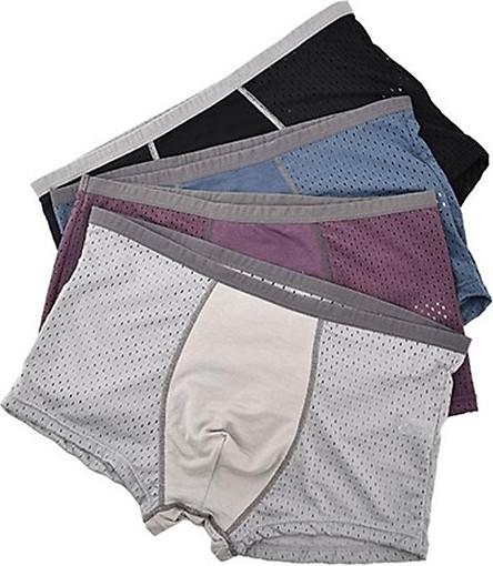 Hộp 4 chiếc quần sịp đùi nam thông hơi (Giao màu ngẫu nhiên) - Kèm hộp giấy