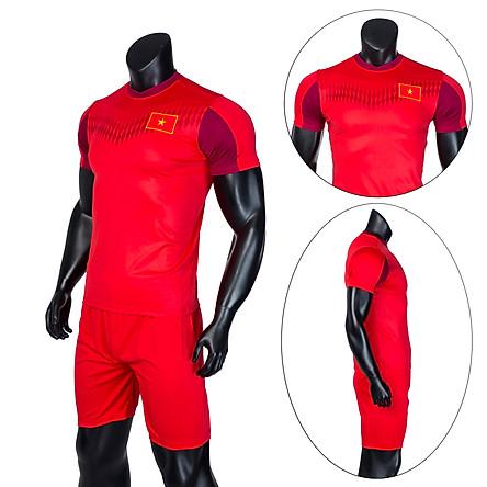 Bộ quần áo thể thao đá banh nam thời trang Everest đội tuyển Việt Nam training 2020 Đỏ
