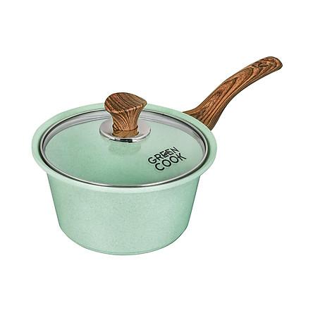 Nồi Đúc Quánh Đúc Ceramic Chống Dính Green-Cook GCS05 Vân Đá Đáy Từ Nắp Kính Cường Lực Dùng Trên Mọi Loại Bếp-Hàng Chính Hãng