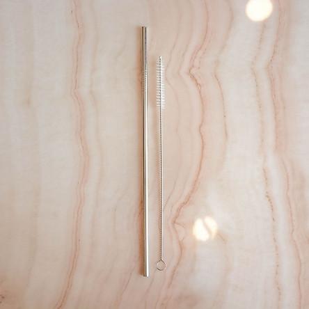 Ống Hút INOX 304 26.5cm Cho Bình Giữ Nhiệt, Ly YETI Kèm Cọ Rửa