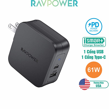 Adapter Sạc 2 Cổng Tích Hợp Type-C In/Out Hỗ Trợ Sạc Nhanh PD Power Delivery 61W RAVPower RP-PC105 - Hàng Chính Hãng