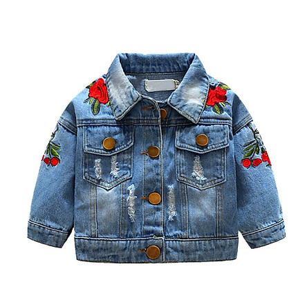 Girls Jean Jackets Kids Baby Rose Embroidery  Coat Long Sleeve Button Denim Jackets Girls 1-5Y New