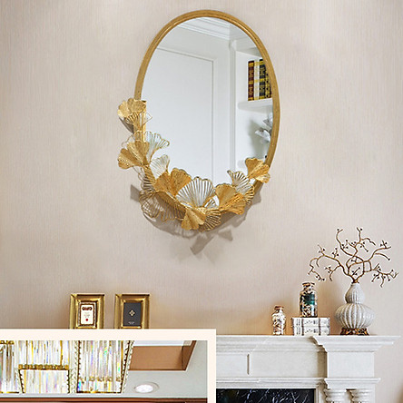 Gương trang trí kèm phù điêu lá ginkgo