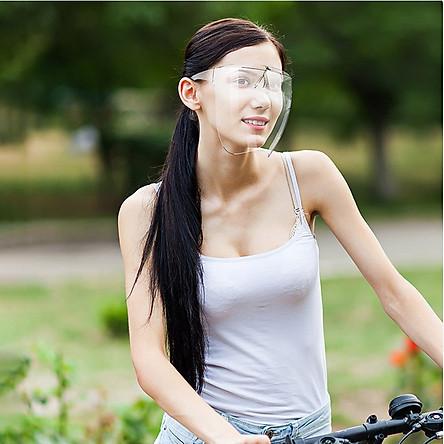 Kính bảo hộ trong suốt chống bụi, chống giọt bắn full mặt bảo vệ mắt Hàng Xịn có lỗ ở quai đeo tai, mặt kính chống xước FA Shield