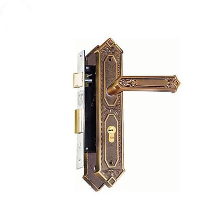 Ổ khoá cửa tay gạt Việt Tiệp 04934 làm từ hợp kim màu nâu thường dùng cho cửa chính cửa gỗ