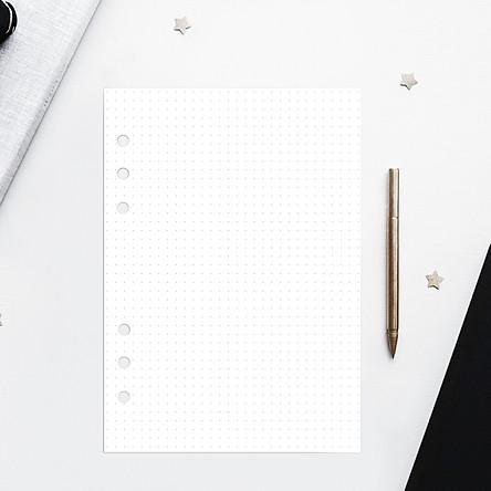 Giấy / Ruột refill sổ còng 6 lỗ A5 cơ bản chấm bi, kẻ dòng, caro, trắng trơn 60 tờ, định lượng 100gsm của Self Planner
