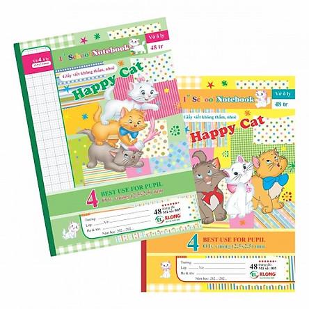 Combo 5 quyển Vở ô ly Happy Cat TP005 - 48 trang