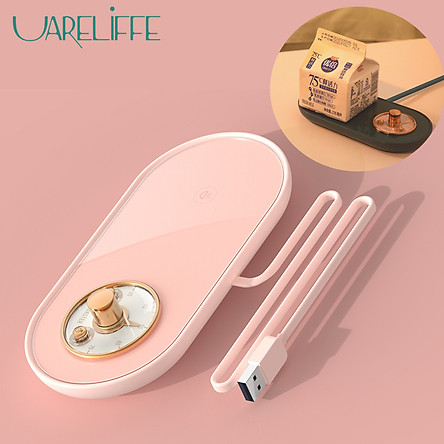 Uareliffe Water Warmer Pad Portable Heating Coasters USB Mini Electric Heating Mat Intelligent Constant Temperature Vintage Pocket Watch Coaster Knob Button Design Heating Coaster With Non-slip Silicone Pad With Timer Winter Use For Milk Water Coffee