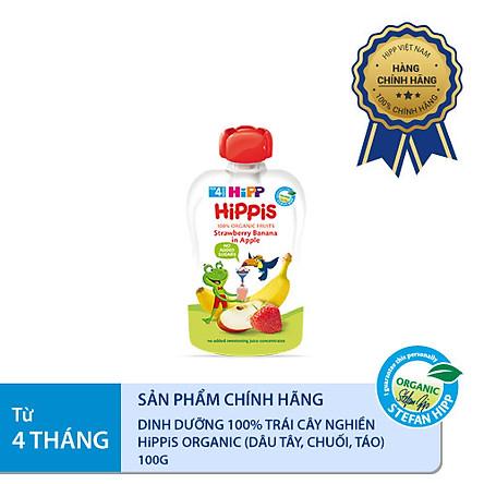 Dinh dưỡng 100% Trái cây nghiền Organic HiPPiS Dâu tây, Chuối, Táo