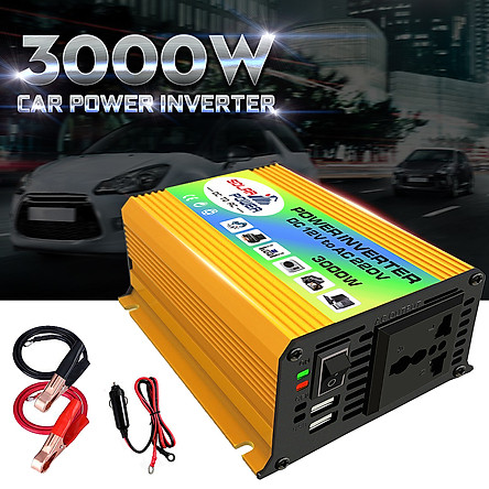 3000W Boat Car Converter Power Inverter DC 12V to AC 220V Invertor USB Charger
