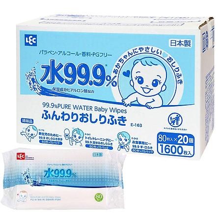 Giấy Ướt LEC 99,9% Nước Tinh Khiết E-163 (80 tờ x 20 gói)