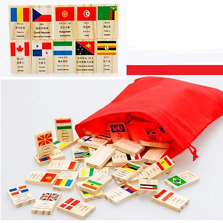 Bộ 100  domini cờ các quốc gia đồ chơi giáo dục