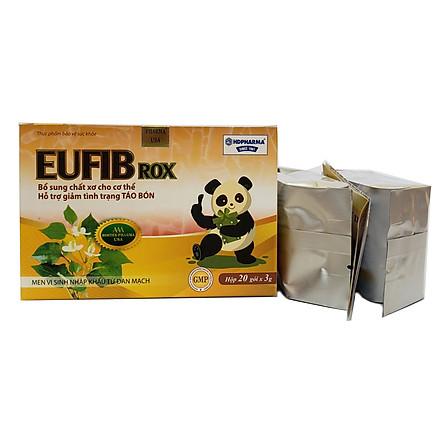 Men vi sinh EUFIB ROX Bổ xung chất xơ cho cơ thể, giảm tình trạng táo bón - Hộp 20 gói 3g