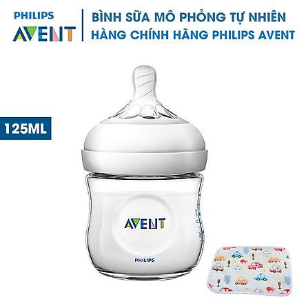 Bình sữa Avent bằng nhựa không có BPA 125ml. Bình Sữa Mô Phỏng Tự Nhiên Philips Avent. Tặng kèm tấm lót chống thấm cho bé.