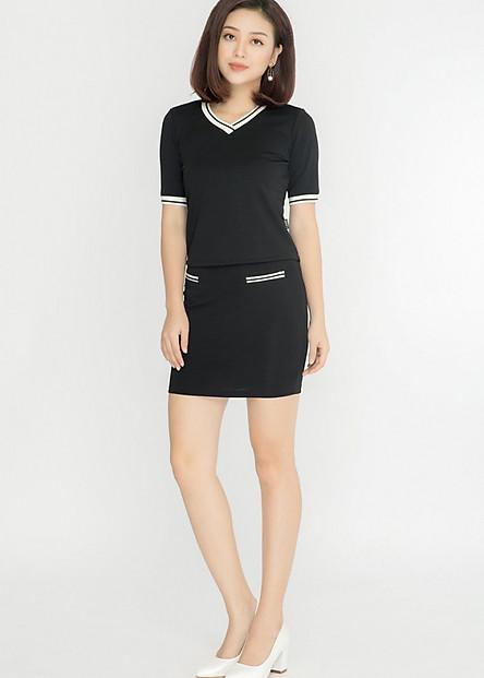 Chân váy công sở nữ dáng ôm LAMER L62F17T035-S1400 (Đen)