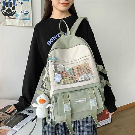 Balo Nữ Đi Học Laptop Chống Nước thời trang ulzzang cặp sách đi học Sinh viên học sinh tặng ảnh hoạt hình, sticker, và gấu TN181