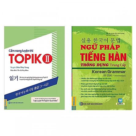 Bộ Sách Học Và Luyện Thi Tiếng Hàn Trình Độ Trung Cấp ( Ngữ Pháp Tiếng Hàn Thông Dụng Trung Cấp + Cẩm Nang Luyện Thi Topik 2 ) Tặng kèm bookmark TH