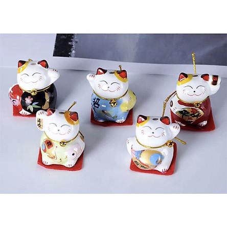 Combo 5 tượng trang trí gốm sứ Nhật Bản Mèo thần tài 4,5x3,5x3,5cm