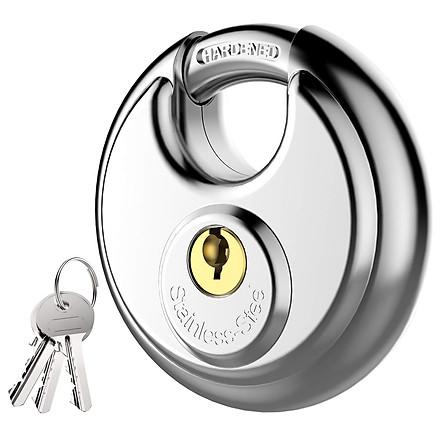 Ổ khóa đĩa tròn chống trộm, chống cắt vỏ inox cao cấp không gỉ, dành cho xe đạp, xe máy, nhà kho, cửa sổ, hộp lưu trữ, đường kính vòng khóa 9,5mm