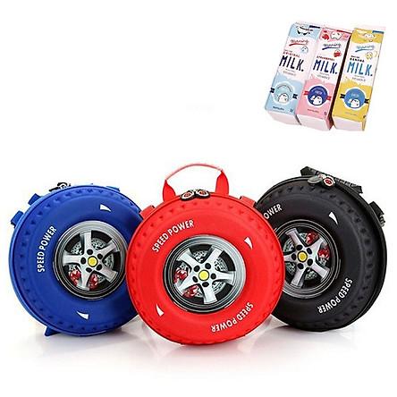 Balo đi học thời trang 3D- Cặp đi học hình bánh xe cho bé trai và bé gái, giao màu ngẫu nhiên+ Tặng kèm hộp đựng bút hình hộp sữa
