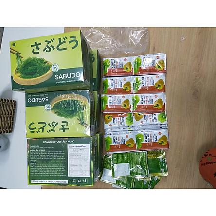– COMBO 3 hộp Rong Nho Tách Nước SABUDO Nhật Bản + Tặng kèm 36 gói sốt mè rang KEWPIE