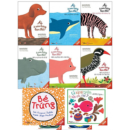 Combo Ehon 8 cuốn Ai sau lưng bạn thế + Cá vàng trốn đâu rồi nhỉ + Bé trứng tặng sổ tay giáo dục gia đình Nhật Bản