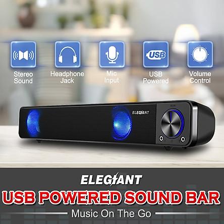 ELEGIANT Wired Dual Speakers Computer TV Sound Bar Super Bass Desktop Subwoofer