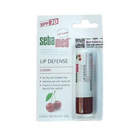 Son dưỡng chống khô nứt môi hương cherry màu đỏ đậm Sebamed pH5.5 Sensitive Skin Lip Defense Cherry 4.8g
