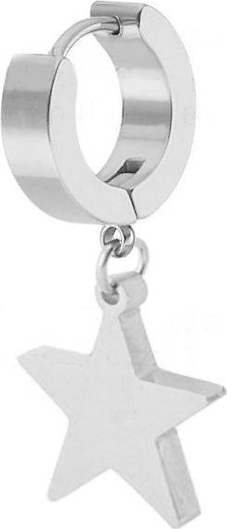 Bông tai khoen tròn ngôi sao năm cánh màu bạc style Unisex Hàn Quốc