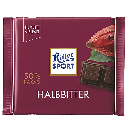 Combo 6 thanh Chocolate Ritter Sport Halbbitter vị đắng 100gr (50% Cacao)