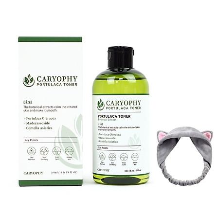 Nước hoa hồng dưỡng da giảm mụn Caryophy Portulaca Toner 300ml + Tặng Kèm 1 Băng Đô Tai Mèo Xinh Xắn ( Màu Ngẫu Nhiên)