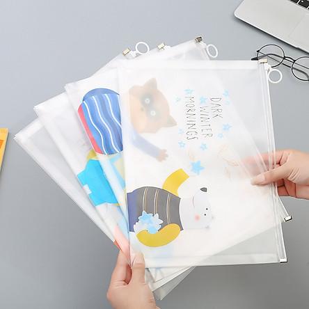 Túi zip trong suốt A4 đựng bút đựng file tiện dụng nhiều mẫu