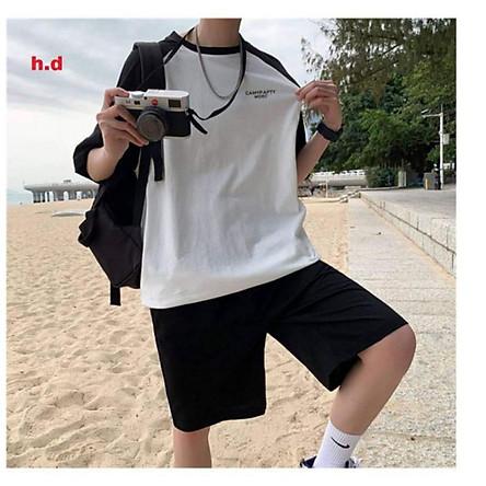 sét đồ bộ nam nữ, áo thun phối tay raplang CAMY + quần đùi đen ống rộng form chuẩn ảnh unisex freesize nam nữ dưới 55kg