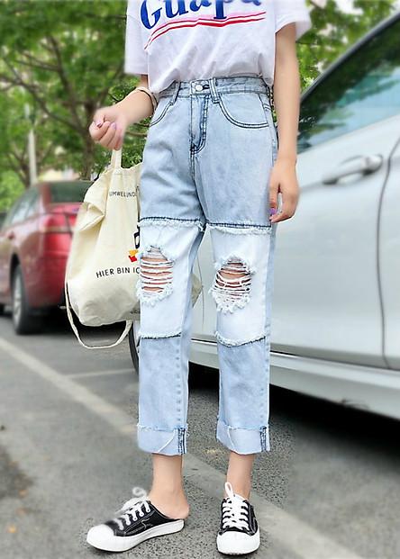 Quần jeans nữ gập gấu rách Mã: QD1963