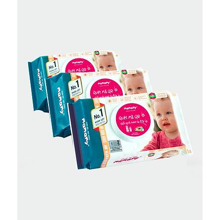 Combo 3 gói khăn ướt an toàn cho bé mamamy 100 tờ ngừa hăm, rôm sảy, kháng khuẩn không mùi (mẫu mới nhất)
