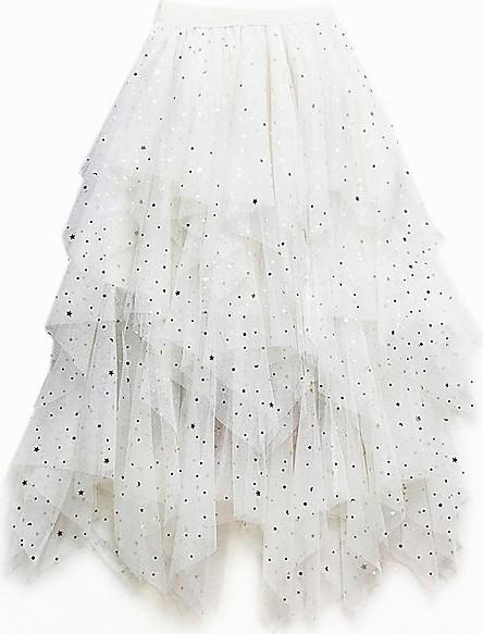 Chân váy dài maxi dáng nhọn ren sao BERI